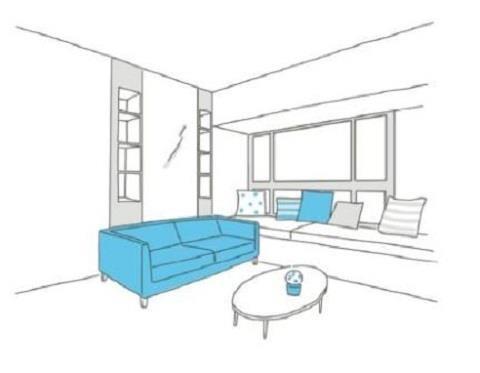 單身者的小客廳通常必須同時兼顧起居功能,因此電視與沙發的距離、沙發大小與茶几高度相形重要。