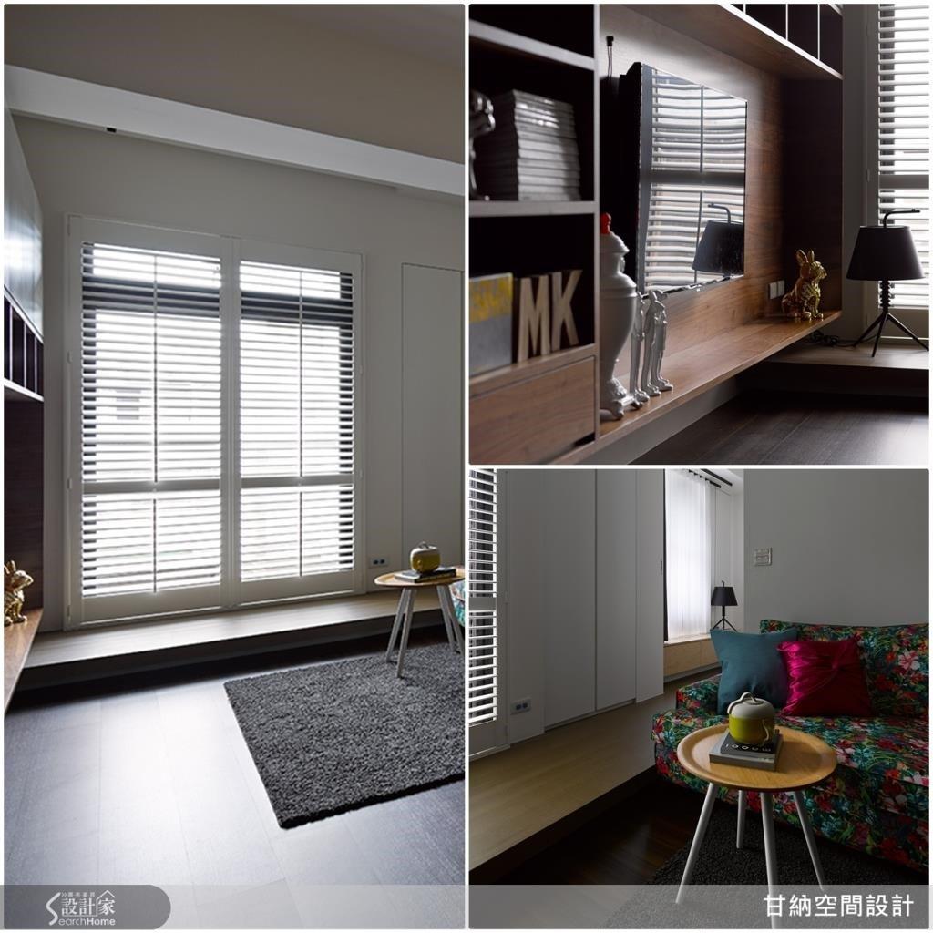 將棧木地板作懸高設計,除了可作為隱藏式收納之用,也為空間增添了舒適的臥榻區,讓人可以輕鬆地倚靠窗邊閱讀。