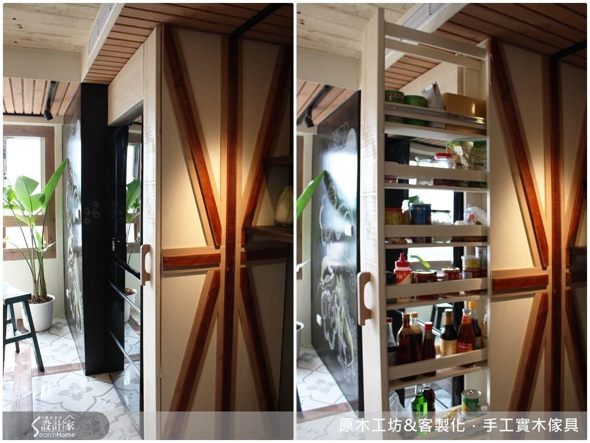 落地的扁形側拉櫃,可容納廚房大量的瓶罐雜物,米字型的巧思線條設計,讓冰箱櫃更顯獨特。