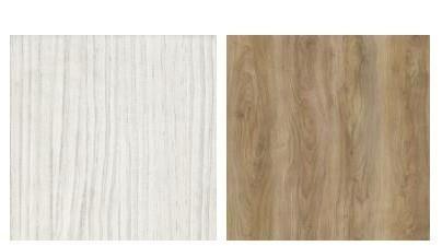 巧妙利用白岑木與摩卡柚木板材組成暖調端景。色卡來源_奇建企業有限公司